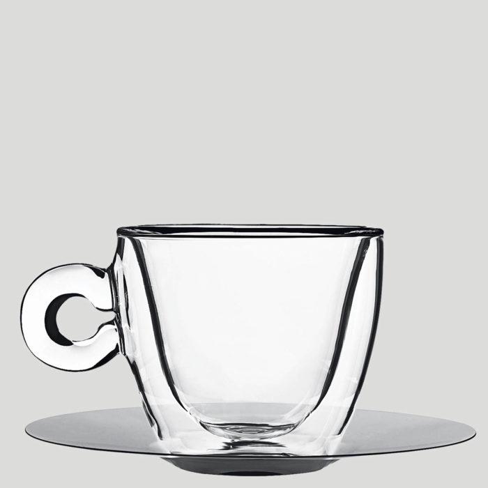 Tazza cappuccino termica - tazza in vetro termica con piattino - Gardagel