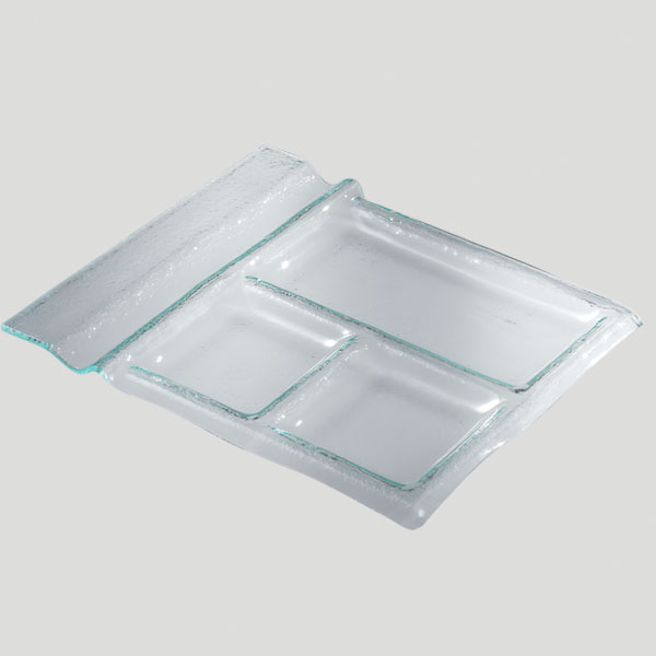 Vassoio colazione - Vassoio in vetro 3 scomparti - Gardagel